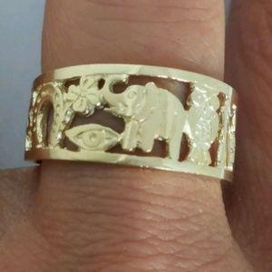 14k Gold good luck owl horseshoe elephant clover